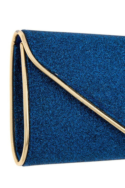 Gold Border Accent Glittery Detailed Evening Clutch Bag-FG-JetSet