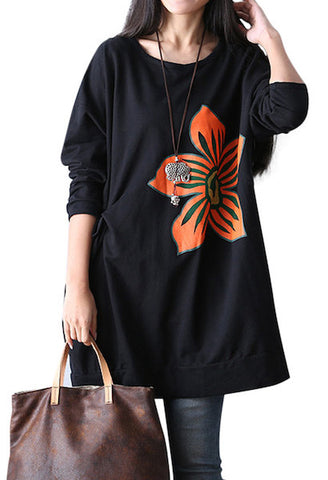 Casual Loose Flower Print Tunic-DL-JetSet
