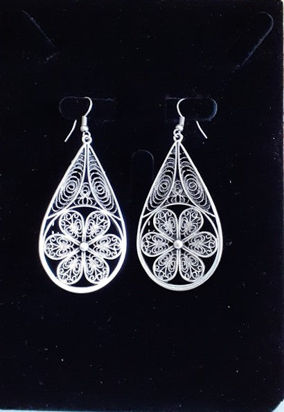 Mexican Silver Filigree Earrings-JetSet-JetSet