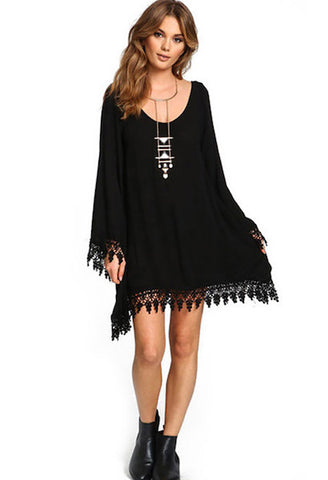 2018 Summer Women Boho Tassel Dress Short Vestido Sexy Lace Crochet Chiffon Tunic Hollow Black Beach Shirt Dress Blusa Hot Sale-JetSet-JetSet