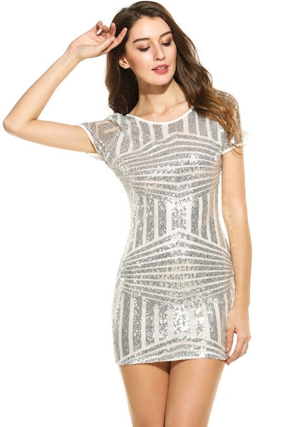 Short Sleeve Striped O Neck Sequined Mini Party Dress-DL-JetSet