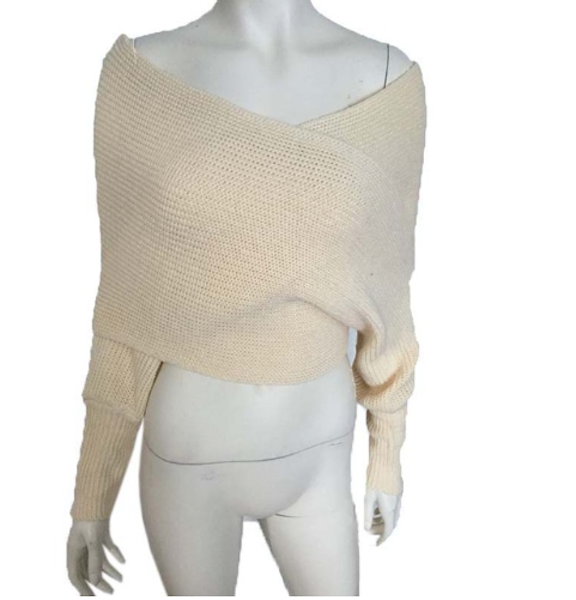 Women Sweater Shawl Scarf V-neck Crop Tops Long Sleeve Knitted Sweaters Femininas-JetSet-JetSet