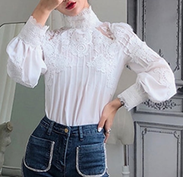 CHICEVER Summer Casual Solid Lace Hollow Out Women Shirt Stand Collar Puff Sleeve Slim Plus Size Female Top Clothing 2020 New