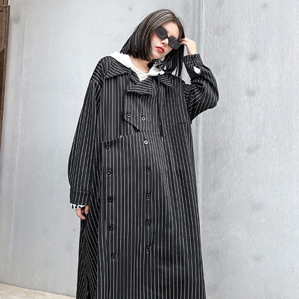 CHICEVER Striped Windbreakers For Women Lapel Long Sleeve Hit Color Loose Oversized Streetwear Trench Female 2021 Clothing Tide