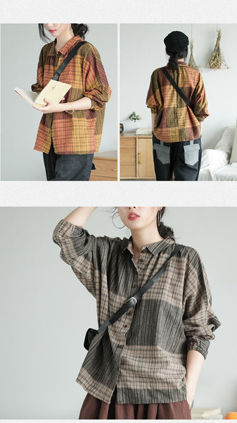 Johnature 2019 New Autumn Vintage Clothes Casual Plaid Womens Tops And Blouses Full Sleeve Turn-down Collar Button Women Shirts-JetSet-JetSet