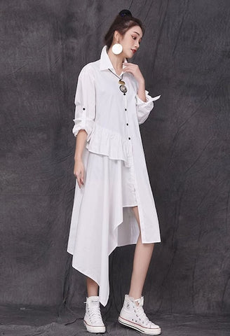 CHICEVER White Dress For Women Lapel Long Sleeve Patchwork Ruffles Loose Asymmetrical Hem Dresses Female 2021 Spring Clothes New
