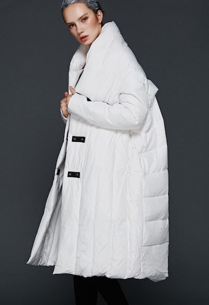 Winter Plus size 90% duck down coat fashion oversized hooded cloak style long down jacket female loose thicker warm coat