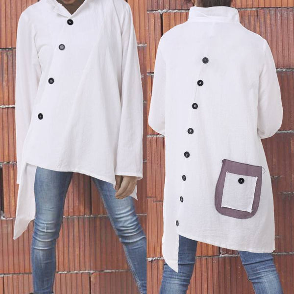 2019 Celmia Oversized Vintage Cotton Tops Women Blouses Long Sleeve Buttons Asymmetrical Shirts Pockets Loose Blusas Femininas-JetSet-JetSet