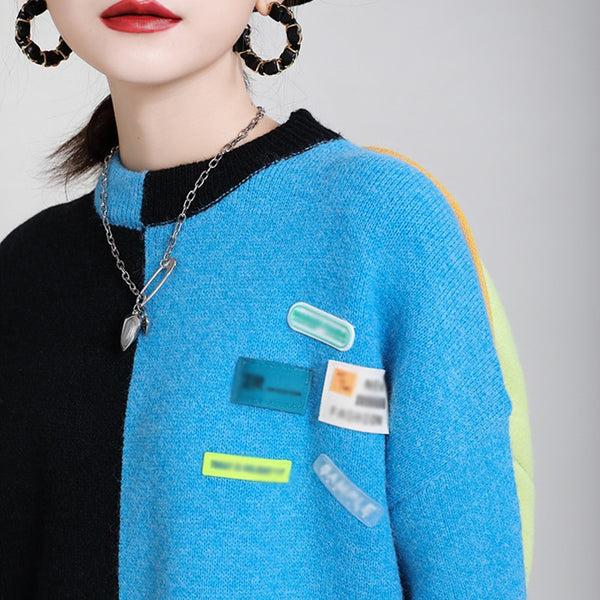 CHICEVER Knitting Sweaters For Women O Neck Long Sleeve Patchwork Appliques Hit Color Designer Streetwear Pullovers Female 2020