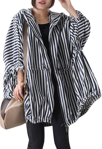 CHICEVER Striped Coats For Women Hooded Collar Long Sleeve Hit Color Drawstring Ruched Casual Jackets Female 2021 Spring Clothes