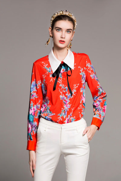 New Arrival Spring Women's Turn Down Collar Lace Up Long Sleeves Printed Fashion Casual Shirts in 2 Colors-JetSet-JetSet