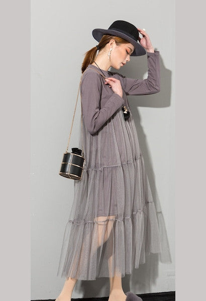 Spring Fashion New O-Neck Long Sleeve Lace Split joint Hem Sexy Gray Dress Woman-Alessio Eno-JetSet