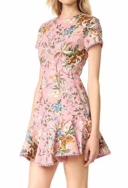 Pink Tropical Print Lattice Summer Dress-Alessio Eno-JetSet
