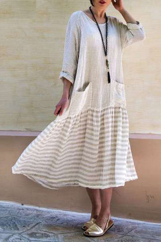 Plus Size Dress For Women 2019 Spring Autumn O Neck Pockets Long Sleeve Vintage Striped Dresses Boho Casual Mid-calf Vestido-JetSet-JetSet