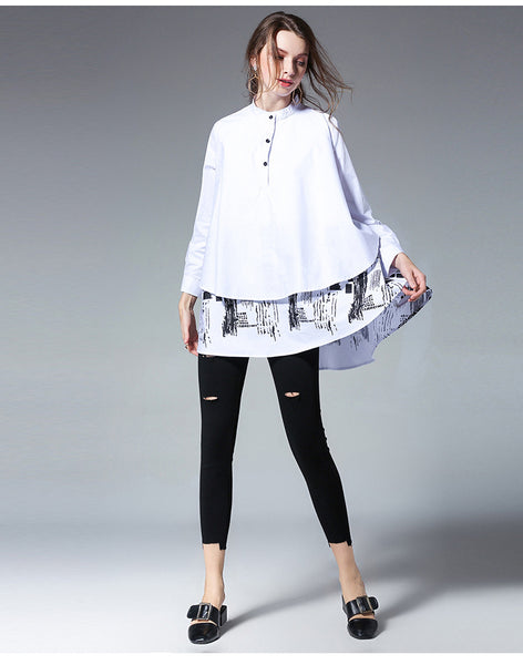 2018 Autumn Full Sleeve Cotton Shirts Women Plus Size 4xl Asymmetrical Printed Loose Big Size Blouse White Black Red Top 2579LY-JetSet-JetSet