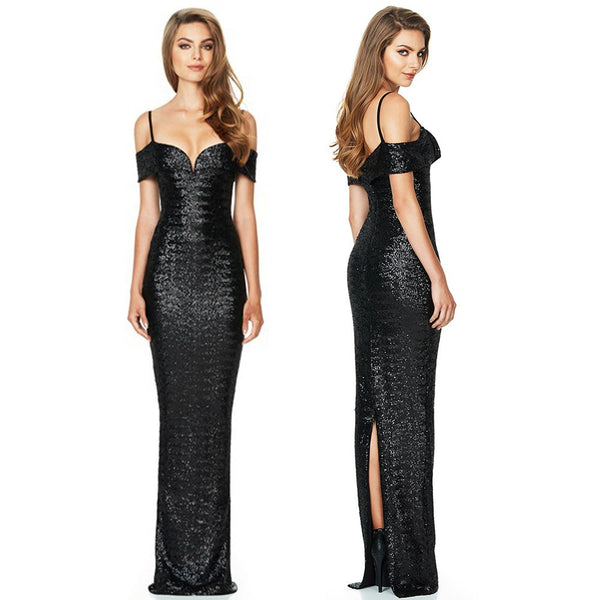 LASPERAL Women Exquisite Long Dress Banquet Wedding Maxi Dress Ladies Vestidos Fashion Sequins Patchwork Off Shoulder Vestido-JetSet-JetSet