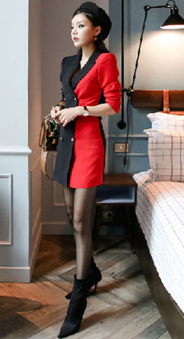 Women Double Breasted Blazer Pencil Work Dress Business Autumn Winter Black Red Patchwork Notched Collar Sheath Office Dress-JetSet-JetSet