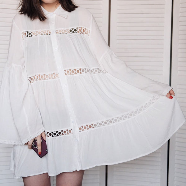 Cotton Tunic Beach Dress 2018 White Mini Dress Plus Size Bohemian Style Dresses Sexy Women Summer Dresses Vestidos #N429-JetSet-JetSet
