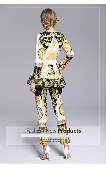 Fashion Runway Designer Suit Set Women's Long Sleeve Retro Pattern Print Pleated Hem Split Pullover Top Pants Set 2 Piece Sets-JetSet-JetSet