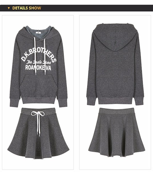 Casual Hooded Sweater and Mini Skirt-Alessio Eno-JetSet
