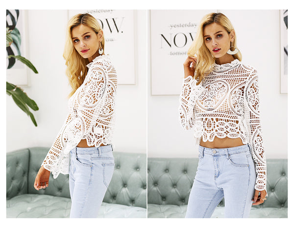 Simplee Elegant lace crop top blouse shirt Women Flare sleeve white blouse female Casual streetwear summer tops tees blusas 2018-JetSet-JetSet
