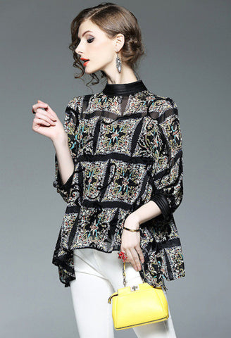 Floral Black Two Piece Blouse-Alessio Eno-JetSet