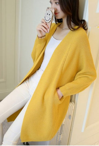 2018 pocket sweater outerwear Medium-long all-match cardigan women loose batwing sleeve sweater women-JetSet-JetSet