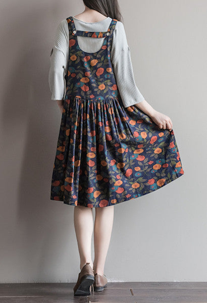 Spring Summer Classical Floral Print Loose Cotton Linen Sleeveless Back Strap Dresses-Alessio Eno-JetSet