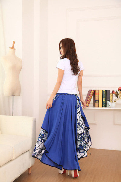 Cotton Linen Elastic Waist Long Irregular Skirt/Dress-AE-JetSet