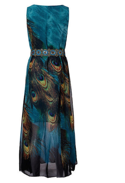 Boho Womens Summer Chiffon Sleeveless Floral Loose Party Beach Long Maxi Dress-AE-JetSet