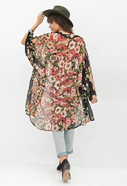 Floral Print Chiffon Printed Long-Sleeved Women's Top Blouses Maxi Kimono Cardigan-AE-JetSet