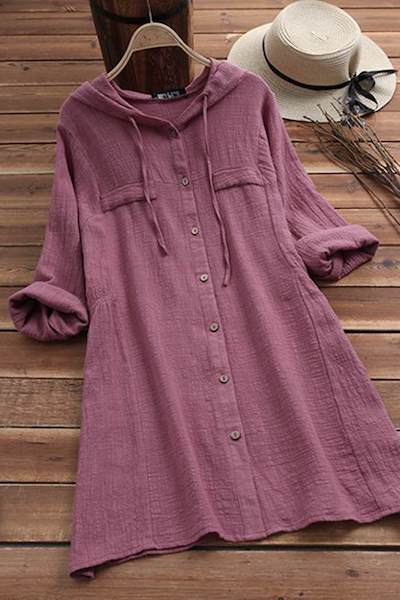 M 5XL Loose Blusa Vintage Solid Cotton Linen Long Shirt Vestidos 2019 Spring Women Casual Hooded Long Sleeve Party Blouse Female-JetSet-JetSet