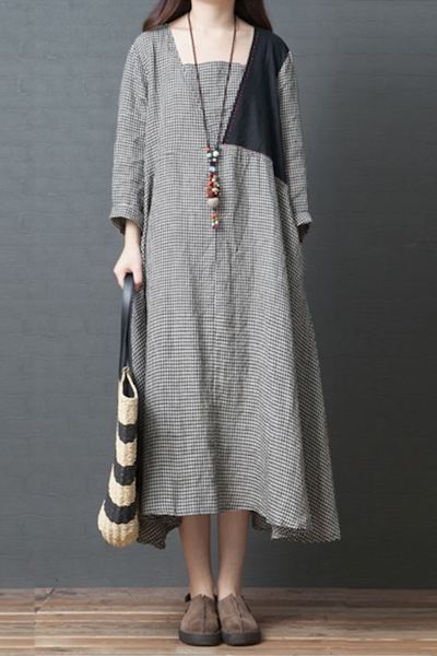 2019 Spring ZANZEA Casual Cotton Linen Dress Women Long Sleeve Long Vestido Vintage Check Plaid Patchwork Loose Kaftan Femme-JetSet-JetSet