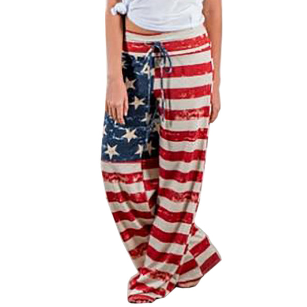 American Flag Print Women Long Pants Trousers Female Sexy Loose Waist Tie Track Pants Flag Of The United States-JetSet-JetSet