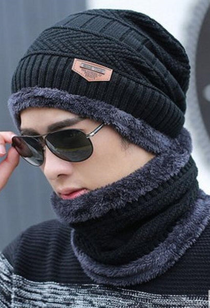 Winter burst knitted hat men s autumn and winter models two-piece ladies hats  cap Winter c70b789abe72