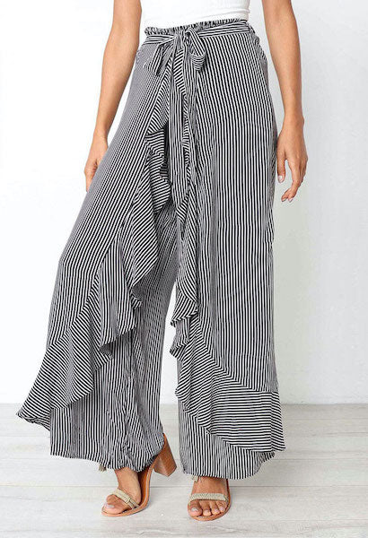 Hot Sexy Striped Bow Tie High Waist Ruffle Wide Leg Long Pants Trousers Women Casual Plain Loose Harem Summer Beach Trousers