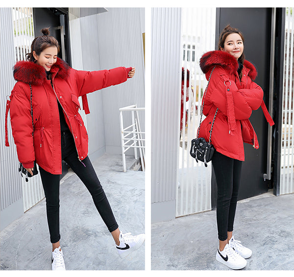 FTLZZ 2019 Women Winter Short Jacket Mujer Hooded Parkas Winter Coat Women Loose Parka Fur Collar Cotton Padded Jackets-JetSet-JetSet