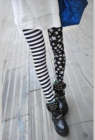 Sexy Women High Elasticity Pants Stars Asymmetrical Striped leggings-Alessio Eno-JetSet