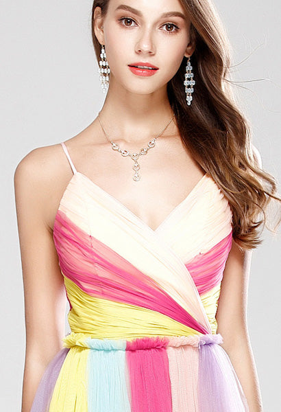 New Arrival 2018 Women's Sexy Spaghetti Straps Ruched Color Block Fashion Long Party Prom Elegant Designer Dresses-JetSet-JetSet