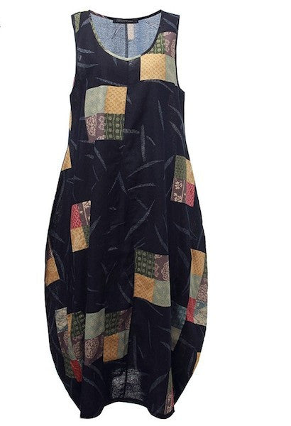 Sleeveless Pattern Printed Linen Dress-NC-JetSet