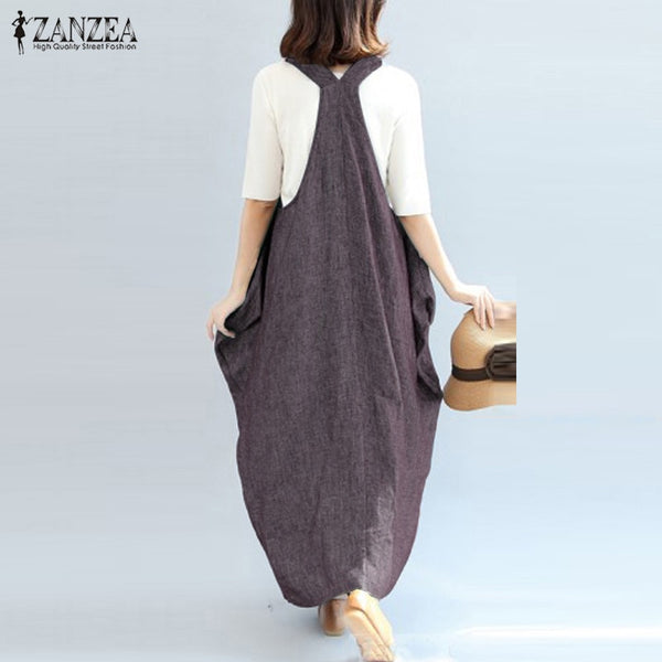 2021 ZANZEA Women Overalls Dress Summer Casual Ladies Solid Party Suspender Tank Vestido Female Kaftan Sarafans Dress Plus Size