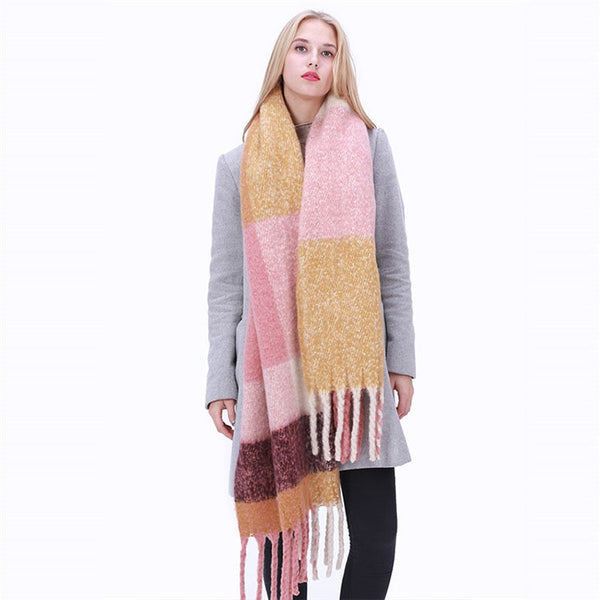 DRESSUUP New Fashion Long Scarf Shawl Female Autumn and Winter New Color Mixed Wild Warm Thick Fringed Scarf-JetSet-JetSet