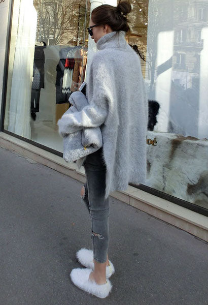 long slit sweater coat female temperament loose bat sleeve mink cashmere turtleneck sweater-JetSet-JetSet