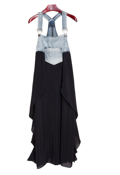 Summer Denim Chiffon Patchwork Asymmetrical Bottom Maxi Dress-Alessio Eno-JetSet