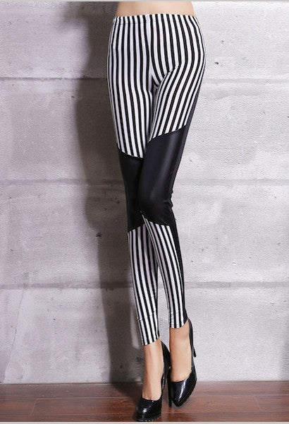 High Quality 2017 Women Black White Stripes Patchwork Leggings Pencil Pants fashion full length-Alessio Eno-JetSet