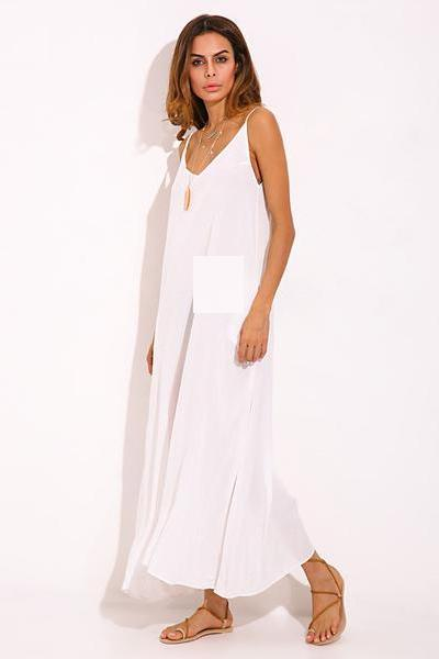 Vestidos 2018 Summer ZANZEA Women Boho Strapless Sexy V Neck Sleeveless Dress Casual Loose Long Maxi Solid Dress White Oversized-JetSet-JetSet