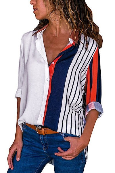 2019 Spring Autumn Womens Casual Long Sleeve Color Block Stripe Button Shirts Tops Blouse Korea Style Women Blouse Shirts-JetSet-JetSet