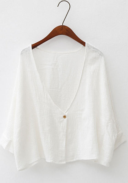 One Button Cotton Linen Simple Short Jacket-AE-JetSet