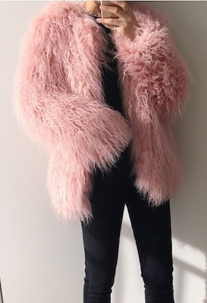 autumn winter new fur coats female pink fashionable was thin long hair imitation wool Hairy fur coat parkas Women Top