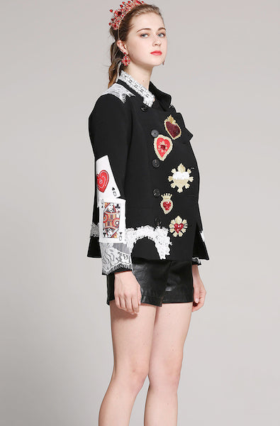 Black Short Coat Women 2018 Winter New Fashion Long Sleeve Stand Heart Embroidery Print Runway Sequins Luxury Coat-AE-JetSet
